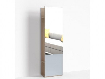 Стеллаж с зеркалом Крокус ПР-ШС-1-1 600х330х2100 Ясень шимо светлый