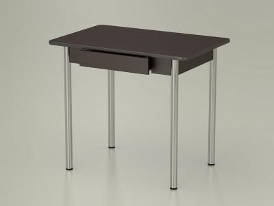 Стол обеденный закругленный с ящиком Венге - ноги хром