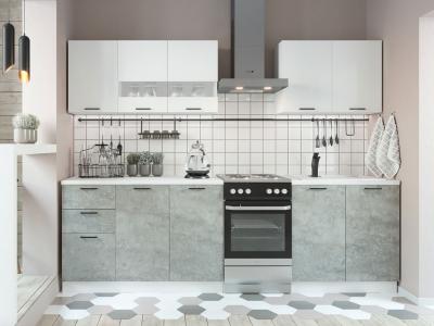Кухня Дуся 2000 Белый глянец-цемент