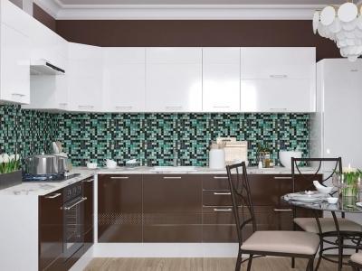 Кухня угловая Люкс белый глянец-шоколад