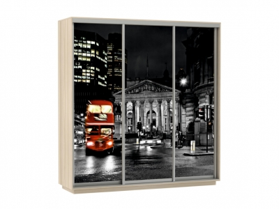 Шкаф-купе Трио Фото Ночной Лондон Ясень шимо светлый